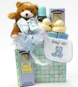 Sweet Baby Boy Diaper Bag with Teddy Bear Gift Basket - Blue