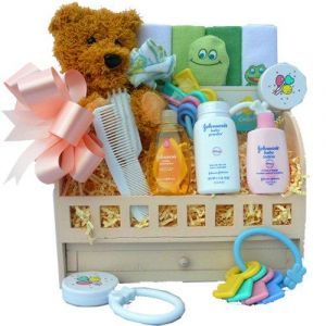 Sweet Baby Bath Sampler Gift Basket with Teddy Bear For Boys or