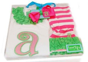 Baby Girl Pink Initial Tunic Leggings and Hair Bow Set, Letter
