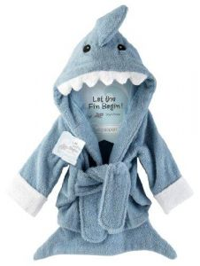 Baby Aspen Let The Fin Begin Terry Shark Robe, 0-6 Months
