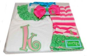 Mud Pie Baby Girl Pink Initial Tunic Leggings and Hair Bow Set,
