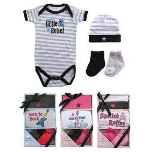 Luvable Friends 4 Piece Rebel Baby Gift Set, Boy-Rebel, 0-3