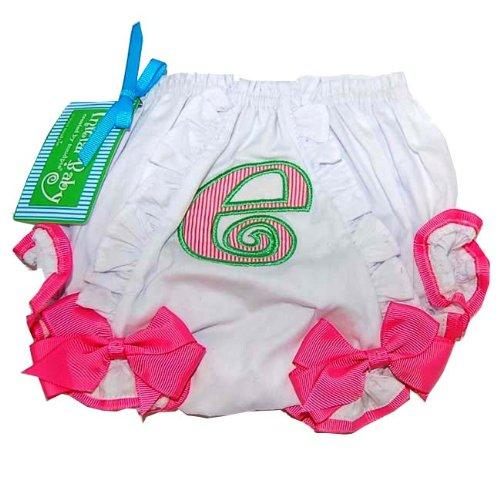 Baby Girl Pink Initial Cotton Bloomer, Letter E, 0 - 6 Months