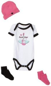 Luvable Friends 4 Piece Rebel Baby Gift Set, Girl-Guitar, 0-3